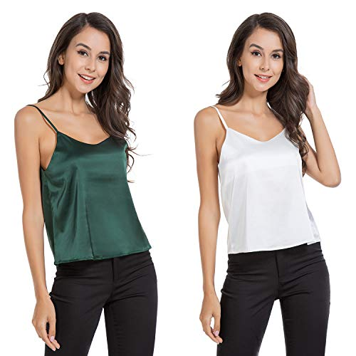 AUQCO Women Satin Tank Top Camisole Silky V Neck Sleeveless Cami Blouse (Green+White, XL)