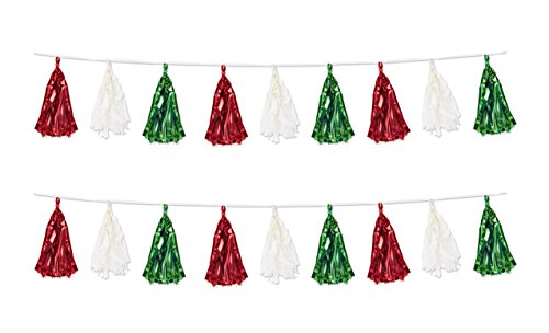Beistle 59928-RWG 2 Piece Metallic & Tissue Tassel Garland, 9.75