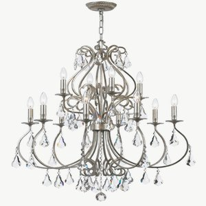 Crystorama 5017-OS-CL-MWP Crystal Twelve Light Chandelier from Ashton collection in Pwt, Nckl, B/S, Slvr.finish, -