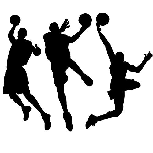 "DNVEN (Black 53"" w X 32"" h Vinyl Basketball Three Basketball Players Slam Dunk Silhouette Wall Decals Stickers for Boy Rooms"