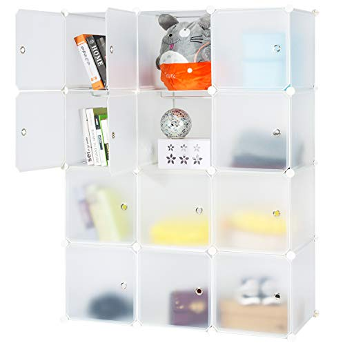 (Honey Home Modular Storage Cube Closet Organizers, Portable Plastic DIY Wardrobes Cabinet Shelving with Easy Closed Doors for Bedroom/Office/Kitchen/Garage - 12 Cubes White)