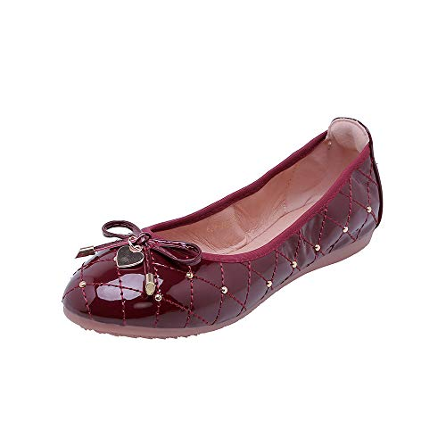 Fnnetiana Women Comfortable Classic Omelette Shoes Round Head Flat Shallow Mouth Bow Soft Sole Leisure Ballet Flat Shoes (US 7, Wine Red) ()
