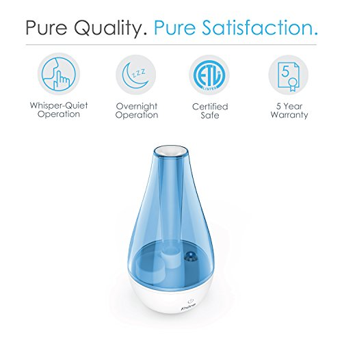 Pure Enrichment MistAire Studio Ultrasonic Cool Mist Humidifier for Small Rooms - Portable Humidifying Unit Ideal for Travel with High and Low Mist Settings, Optional Night Light and Auto Shut-Off