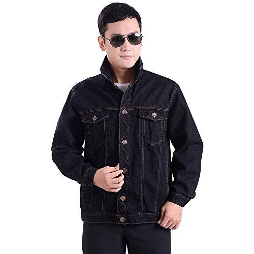 Denim Men's Outdoor Coat Outwear Jacket Black YIHIGH Retro Jacket Lightweight UOHAqw