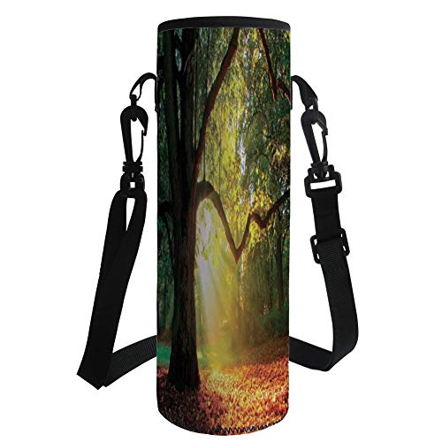 iPrint Water Bottle Sleeve Neoprene Bottle Cover,Leaves,Majestic Mighty Oak Tree with Largely Broader Leaves Forest Sun Rays Nature,Orange Green Brown,Fit for Most of Water Bottles by iPrint