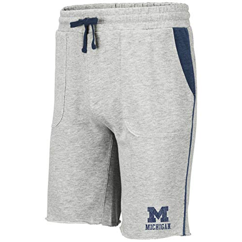 - Colosseum NCAA Mens Cutoff Athletic Training Gym Shorts-Heather Grey-Michigan Wolverines-Large