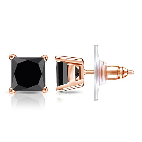 for solid black white mens earrings diamonds prong unisex four men diamond with gold ctw stud