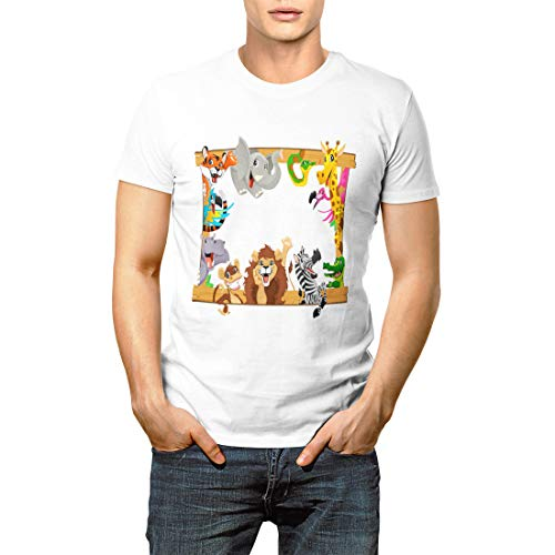 Zoo Kids Name Jungle Safari Animals Jumbo Tote Cute Men's Short Sleeve T-Shirt ()