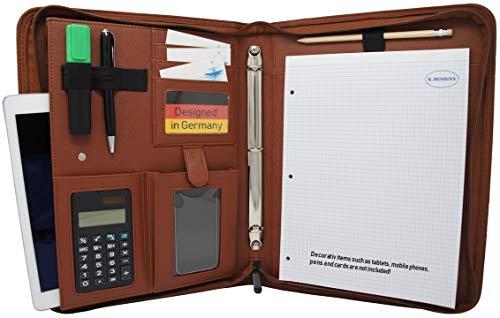 Leather Zippered Padfolio (K.DESIGNS- Zippered Leather Business Portfolio in Brown/Portfolio Organizer -PU Vegan Leather Notepad Folder for Resumes, Interviews, iPad/Tablet, Phone, 3 Ring Binder padfolio for Women, Men)