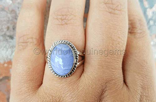 blue lace agate ring, 925 sterling silver, gemstone ring, statement ring, designer handmade jewelry, colorful ring, promise ring, filigree design ring, modern ring, stack ring, filigree design ring (Ring Agate Lace)