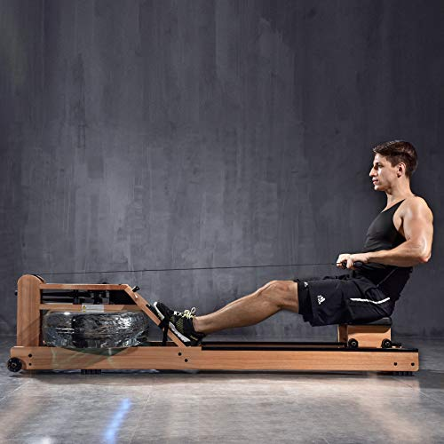 BATTIFE Water Rowing Machine Solid Walnut Wood Rower Machine for Home Gyms Fitness Indoor Use, Workout Indoor with Bluetooth Monitor
