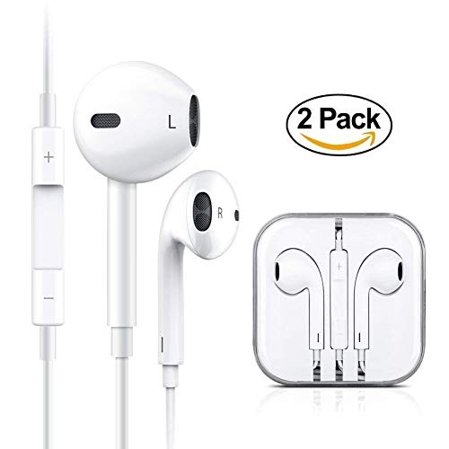 2-Pack Premium Earphones In-Ear Earbuds Headphones with Stereo Mic&Remote Control for iPhone iPad iPod Samsung Galaxy and More Android Smartphones Compatible With 3.5 mm Headphone Earpods White