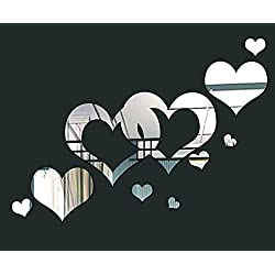 DIY Wall Mirror Stickers, Hearts, Made of Acrylic Material Like Mirror, Modern Design for Home Living Room Bedroom Kitchen Baby Child Novelty Luxury Crystal Wall Silent Watch Extra Large Clocks