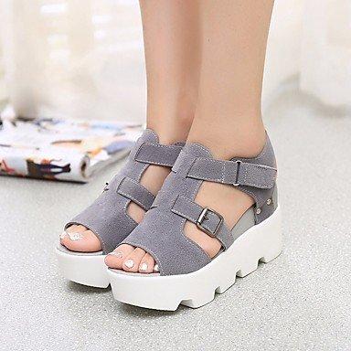 SHOES-XJIH&Uomini sandali Comfort estivo PU Nylon outdoor casual tacco piatto,Black,US7.5 / EU39 / UK6.5 / CN40