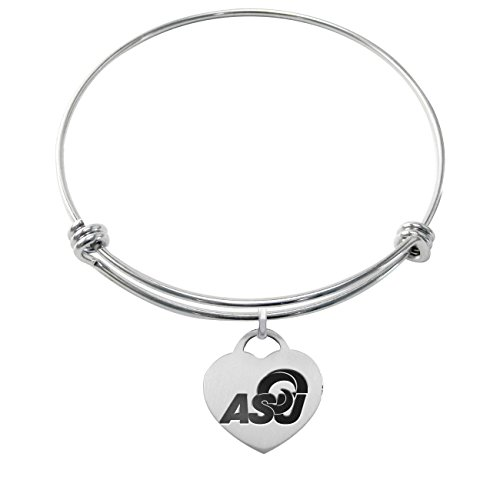 Angelo State Rams Stainless Steel Adjustable Bangle Bracelet with Heart Charm by College Jewelry