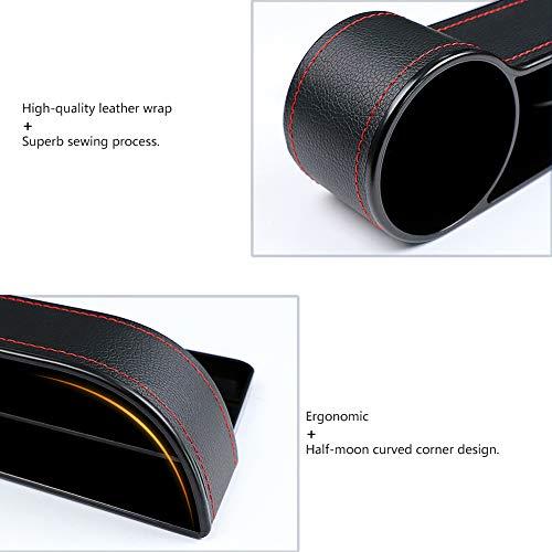 Caja de almacenamiento para asiento de coche con soporte para vasos, consola de piel sintética de alta calidad, organizador de bolsillo para accesorios de coche en el interior, soporte para teléfono, cartera, soporte para tazas