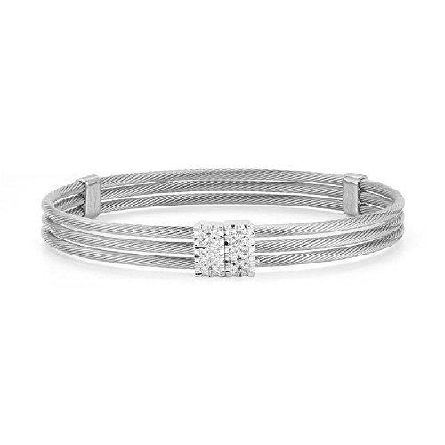 0.20ctw. Diamonds Pave-Set 14k White Gold Super-Flex Triple Strand Cable Wire Bracelet - 7