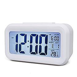 Smart Backlight Kids Alarm Clock 2like Digital Alarm Clock Low Light Sensor Morning Clock Large Display Digital Snooze Good Sleep Alarm Clock for Kids Child Teenager Room (White)