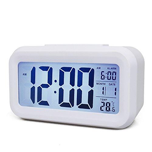 24 Hr Round The Clock (Smart Backlight Kids Alarm Clock 2like Digital Alarm Clock Low Light Sensor Morning Clock Large Display Digital Snooze Good Sleep Alarm Clock for Kids Child Teenager Room (White))