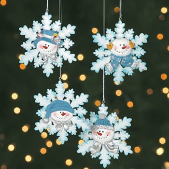 Amazon.com: Glitter Snowman Snowflake Christmas Tree Ornaments 4 ...
