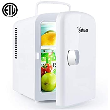 AstroAI Mini Fridge 4 Liter/6 Can Portable AC/DC Powered Thermoelectric System Cooler and Warmer for Cars, Homes, Offices, and Dorms (White)