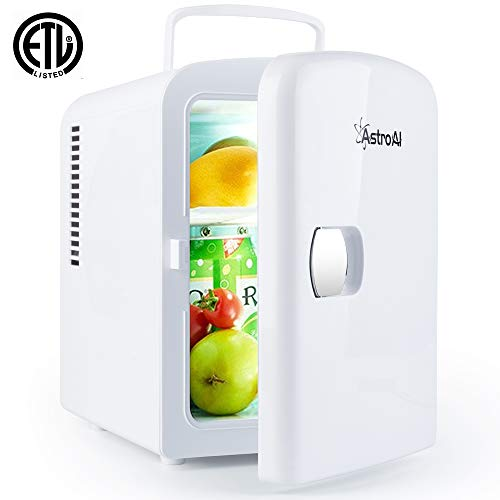 AstroAI Mini Fridge Portable AC/DC Powered Thermoelectric System Cooler and Warmer 4 Liter/6 Can for Cars, Homes, Offices, and Dorms (White)