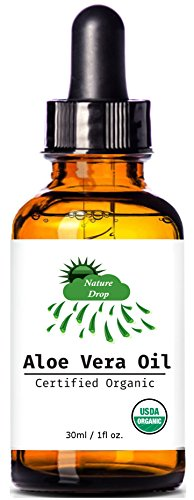 Nature Drop's USDA Organic Aloe Vera Oil - 1 oz - 100% pure , Vitamin C, E, B, allantoin, minerals, proteins, polysaccharides, enzymes, amino acids and beta-carotene.