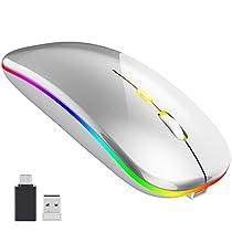 【2021最新版 7色ライト】ワイヤレスマウス 無線マウス 静音 軽量 U...