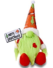 Christmas Gnomes Decorations Grinch Plush, Handmade Gnomes Plush Holding Merry Christmas Sign Swedish Tomte Scandinavian Holiday Gnome Christmas Elf Figurines for Xmas Party Tiered Tray Tabletop