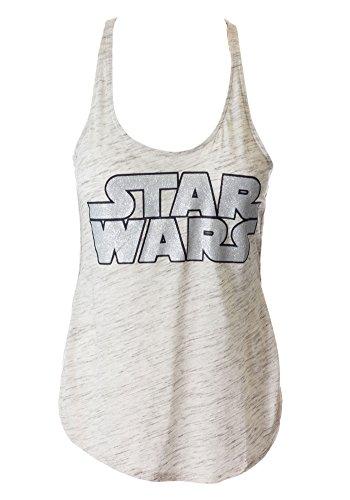 Sidecca Star Wars Logo Racerback Tank Top-Grey/Black-X-Large