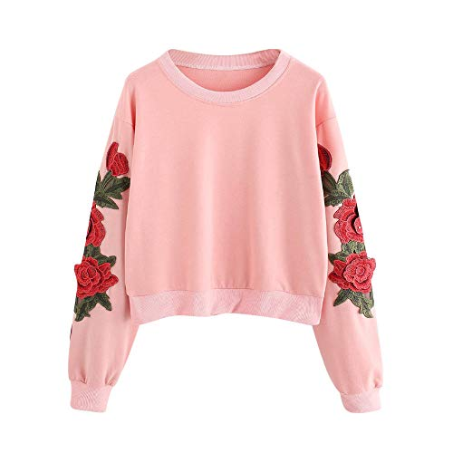 Tees Stripe Tops Hoodie (Women Hoodie Pullover, Women's Roses Embroidery Applique Stripe Long Sleeve Sweatshirt O-Neck Top Blouse(Pink,M))