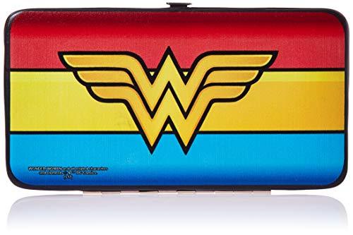 - Buckle-Down Hinge Wallet - Wonder Woman Logo/Stripe Red/Yellows/Blue
