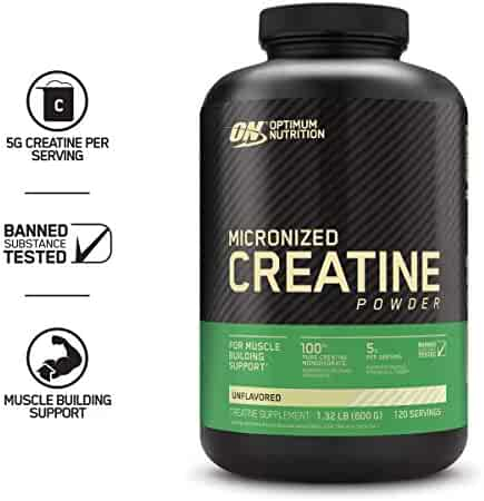 Optimum Nutrition Micronized Creatine Monohydrate Powder, Unflavored, Keto Friendly, 114 Servings