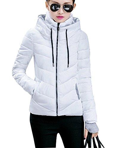 Donna Corto Con Cappuccio Giacca Cappotto Con Tasca Inverno Caldo ParkaCerniera Giubbino Bianco