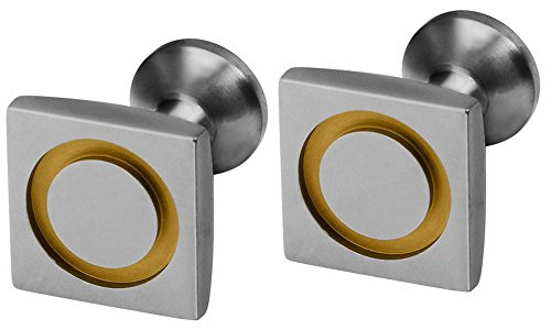 Ti2 Titanium Mens Square Circle Inlay Cufflinks - Tan (Titanium Cufflinks Brown)