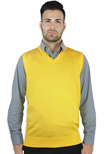 Blue Ocean Solid Color Sweater Vest Yellow XX-Large