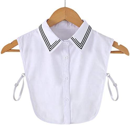 Collar de camisa de oficina para mujer, diseño de rayas negras, bordado, solapa con botón, cuello falso, camisa desmontable: Amazon.es: Hogar
