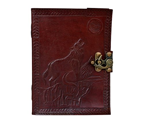 Embossed Howl at The Full Moon Locking Leather Wolf Journal Howling Wolf Journal 120 Leaf with Brass Clasp Writing Book 8x6 ()