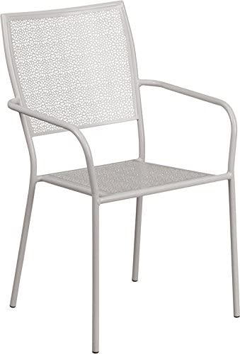 EMMA OLIVER Light Gray Indoor-Outdoor Steel Patio Arm Chair with Square Back