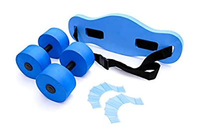 Aqua Fitness Water Exercise Set - 5 Piece Water Workout Set - Water Aerobics Set - Includes Barbells, Webbed Gloves and Flotation Belt