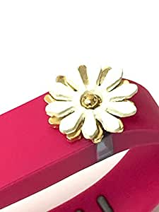 BSI 1pc Small Rose Color Band with Jewelry Crystals Decoration /White Flower with Gold/ for Fitbit FLEX Only With Metal Clasp Replacement /No tracker/+ Nice Crystals Feather Brooch