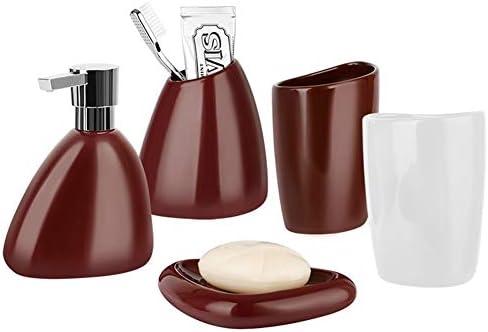 FXin バスルームアクセサリー、5組の明るい艶出しワインレッドウォッシュカップセットのセラミックバスルームセットシンプルな北欧スタイル、4色の組み合わせ シャワー室 (Color : B)