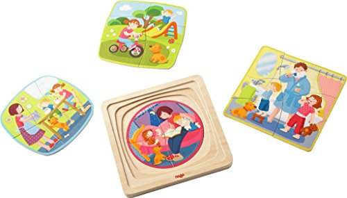 HABA Wooden Puzzle My Day with Four Layers for Different Daily Activities - 22 Pieces in All - Ages 3 and Up (Haba Jigsaw Puzzles)