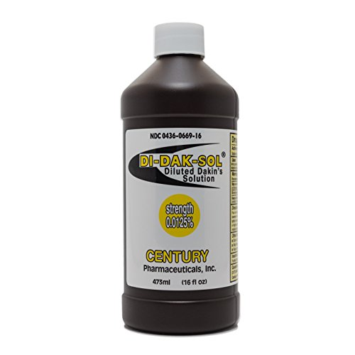 Di-Dak-Sol (Diluted Dakin's Solution) 304360669168 Sodium Hypochlorite 0.0125% Wound Therapy for Acute and Chronic Wounds by Century Pharmaceuticals