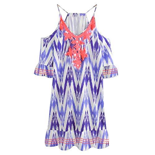VZEXA Women Dresses Ladies Casual Simple Short Sleeve Cotton Blend V-Neck Holiday Vintage Dress(Purple,US-M/CN-L) ()