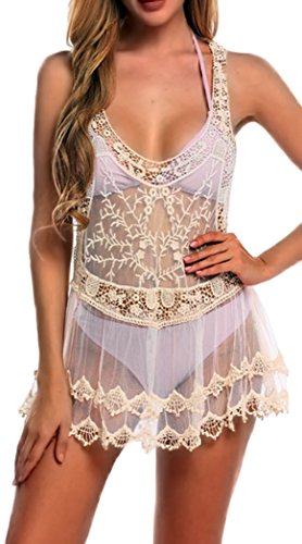 Halife Women's Sexy Lace Mesh Patchwork Bikini Bathing Suit Cover Up Tank Dress (One Size, Beige)