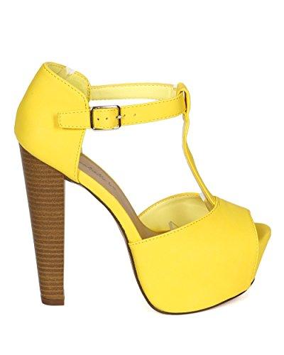 Breckelles CK89 Women Leatherette Peep Toe T-Strap Platform Chunky Heel Sandal - Yellow (Size: 8.5)