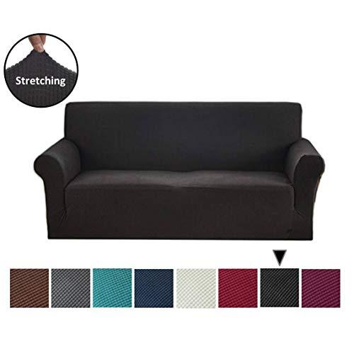 (Argstar Jacquard Sofa Slipcover Couch Cover Soft Elastic Black)