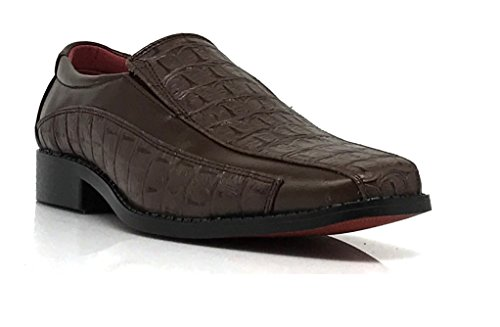 Tor04 Mens Alligator Crocodile Print Oxfords Loafers Fashion Slip On Dress Shoes Brown