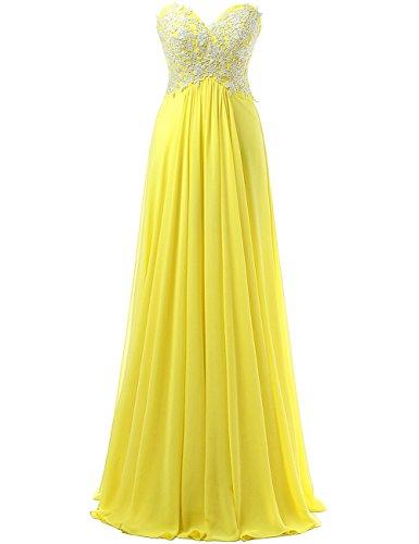 de de Apliques Baile JAEDEN Largo Vestido de Dama Noche Claro Gasa Honor Correas la Vestido de Vestidos Amarillo SFqqWngxwP